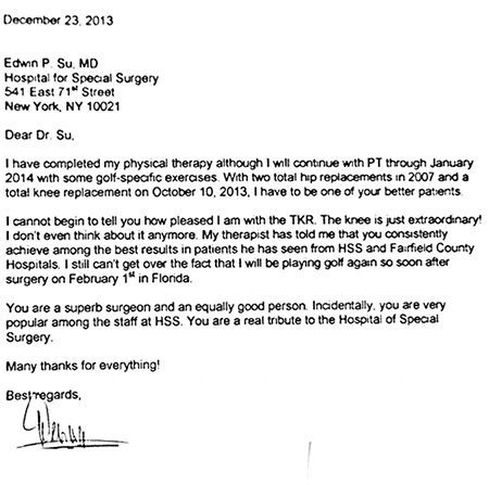 Patient letters | Edwin Su MD | Orthopaedic Surgeon New York NY